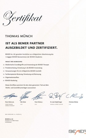 Zertifikat Bemer Partner – Thomas Münch